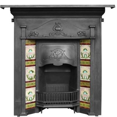 Antique Tiled Art Nouveau Combination Fireplace