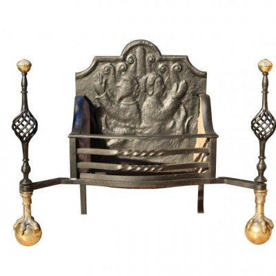 A 19th century English steel and brass dog grate