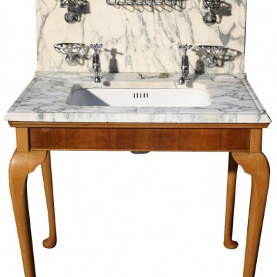 Edwardian Shanks Marble Topped Basin / Sink Stand