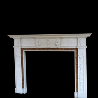 Finely carved Georgian style marble chimney piece