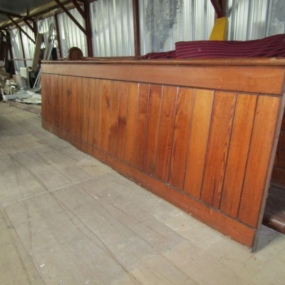 Pitch pine tongue and grove panelling.