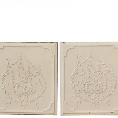 Pair Of Early 19th Century Carved Oak Painted Wall Panels