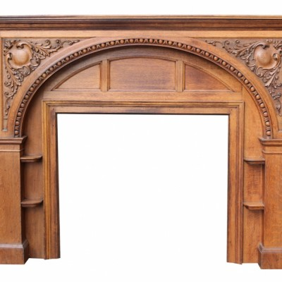 Edwardian Carved Oak Fire Surround Circa 1900