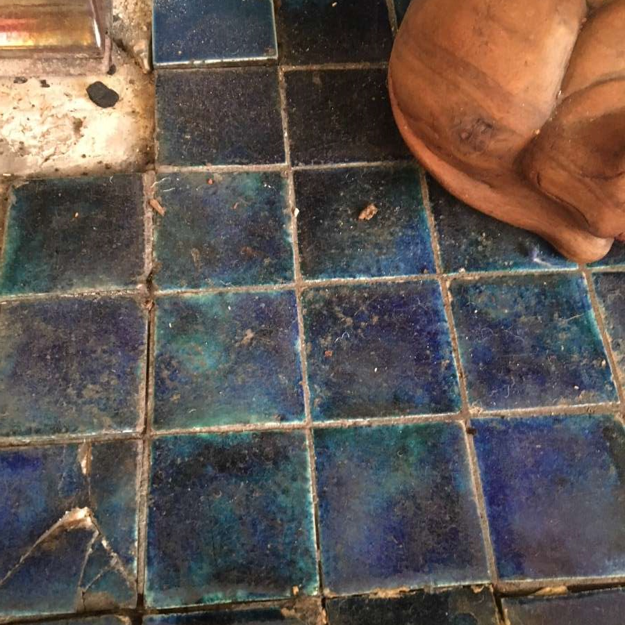 Cobalt blue fireplace tiles
