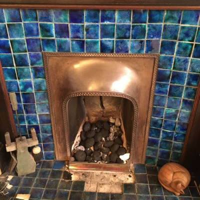 Cobalt blue fireplace tiles