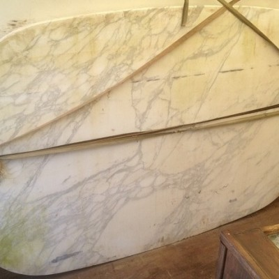 white or rose piece of verona style marble