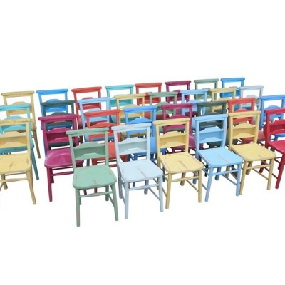 Hand Painted Colourful Antique Church Chairs With Bible Backs