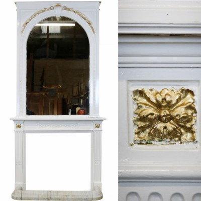 Victorian Wood and Gesso Surround, Mirror and Fender