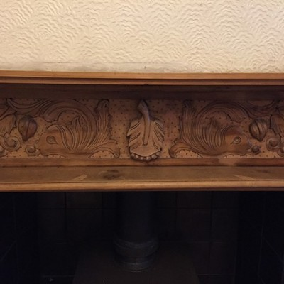 Hand carved pine fire surround with mouldings