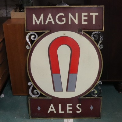 Magnet Ales (John Smiths Brewery) Extremely Rare Double Sided Enamel Sign