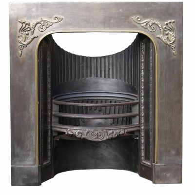 Early 19th Century Cast Iron And Brass Fire Insert