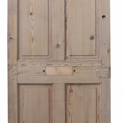Victorian Stripped Pine Door With Etched/ Patterned Glass