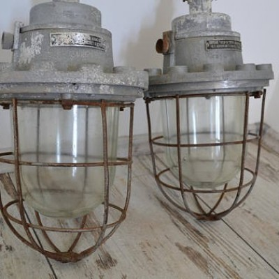 Vintage Industrial Soviet Era Explosion Proof Lamps / Lights