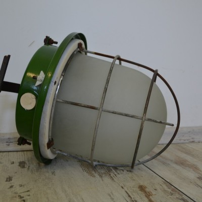 Vintage Industrial Green Enamel Factory Lights / Lamps
