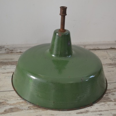 Vintage Industrial Green Enamel Large Shades.