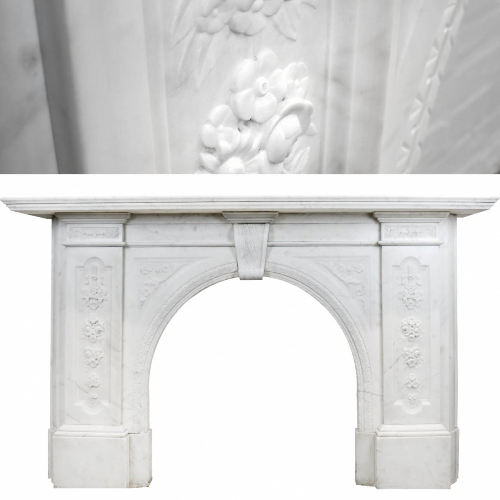 Victorian Carved Statuary Marble Surround