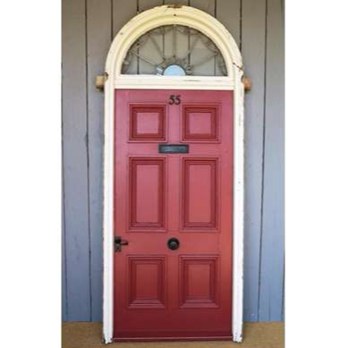 For Sale Antique Original 6 Panel Pine Front Door With Leaded Arch