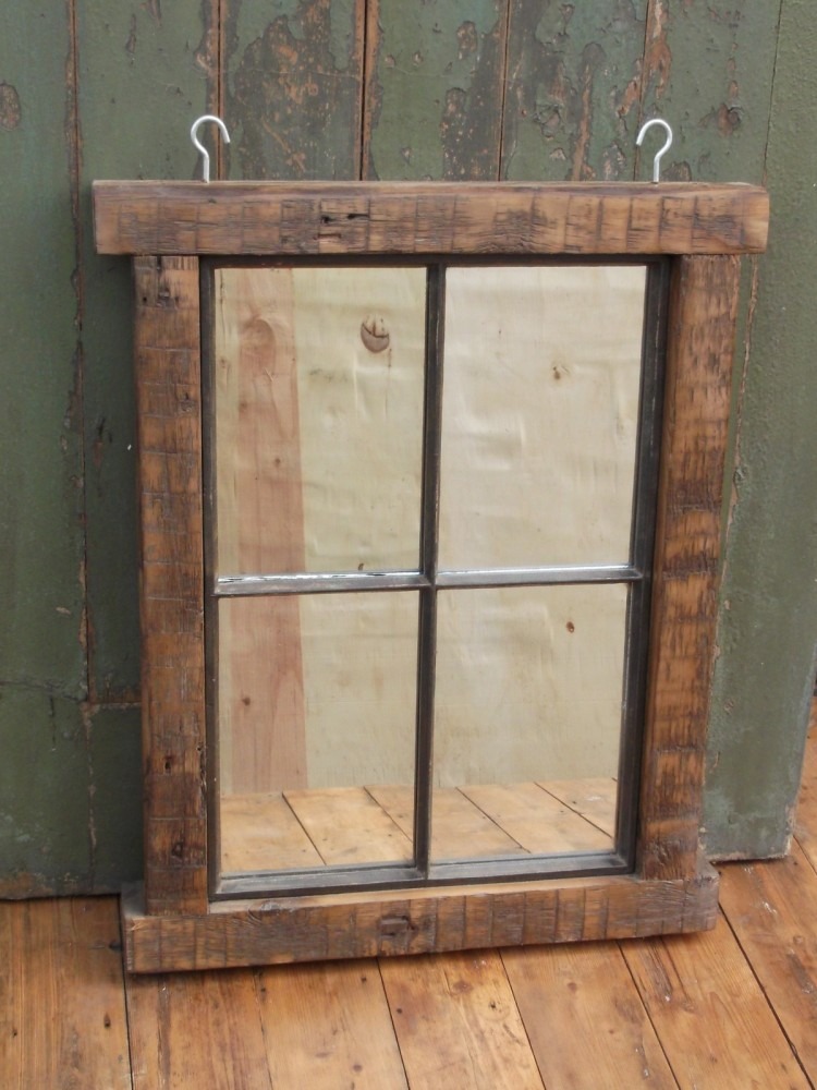 Cast Iron Mirror with Wooden Frame