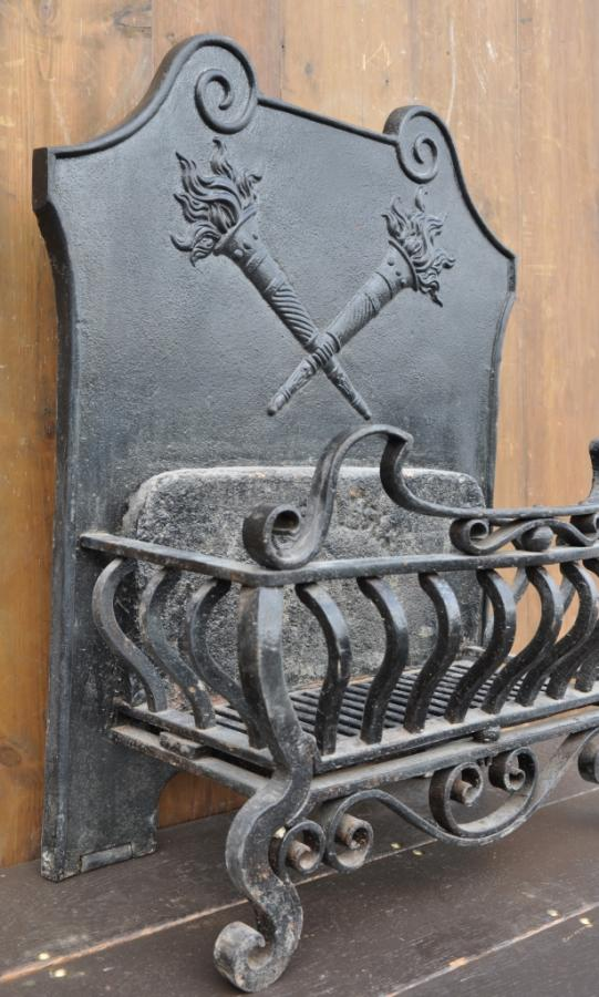 antique dog grate cast and wrought iron