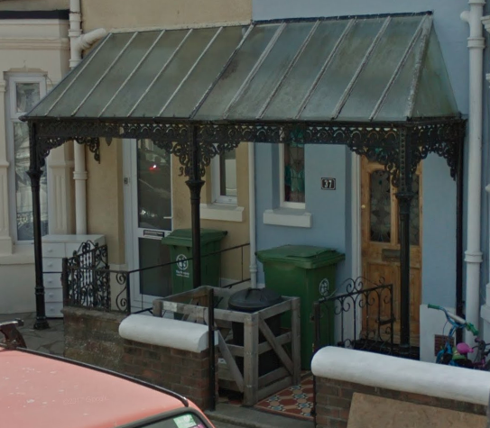 Wrought Iron veranda/ canopy for a victorian house in portsmouth southsea.
