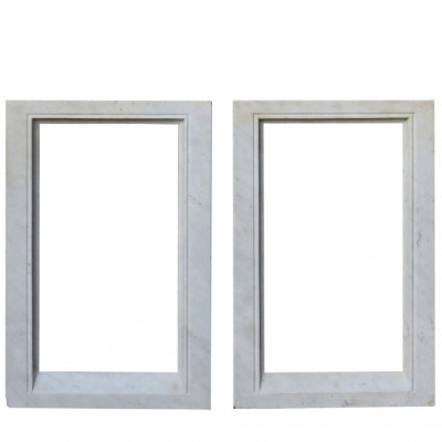 Pair Of Antique Carved Carrara Marble Frames