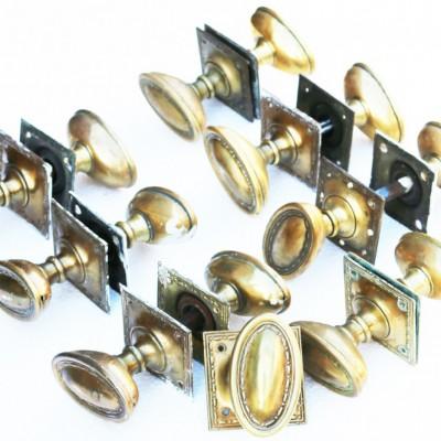 Reclaimed / Antique Victorian Oval Brass Door Knobs