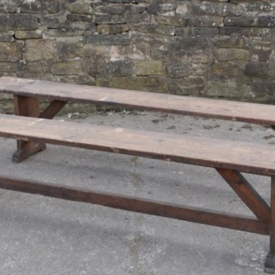 a pair of  8 foot  antique pine benches