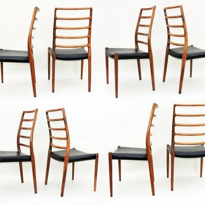 Moller 82 rosewood dining chairs x 8. Danish high back Manchester UK