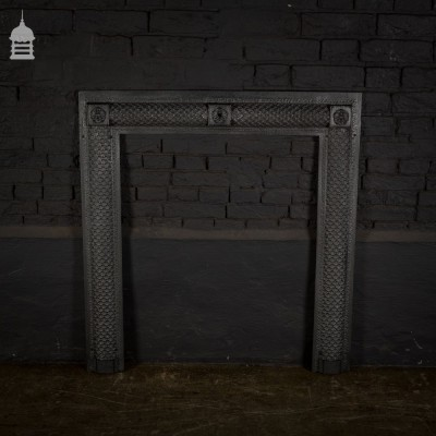 Decorative 18th C Cast Iron Fireplace Insert Surround with Rose Detail