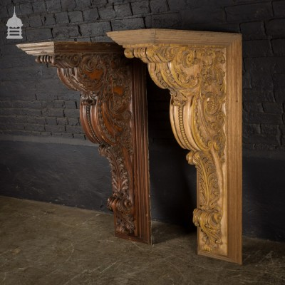 18th C Pair of Large Ornately Carved Wooden Brackets believed to be from a John Nash Property