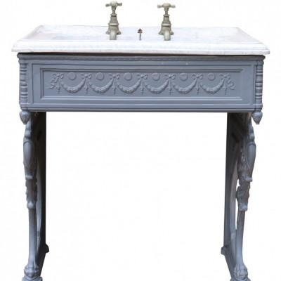 Rare Marbleised Victorian Wash Basin With Cast Iron Floor Standing Bracket