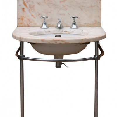 1930s Art Deco Marble Basin With Chrome Stand