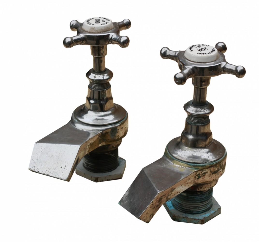 For Sale Pair Of Unusual Shanks Co Bath Taps Salvoweb Uk