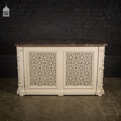 Large Decorative Victorian Cast Iron Radiator Cover with Dark Grey Marble Top