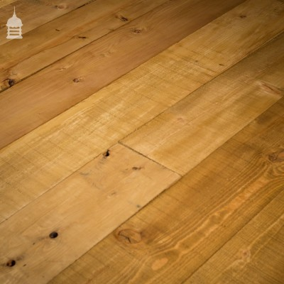 11 Inch Wide Rustic Skimmed Pine Floorboards Wall Cladding with Wax Finish Cut from Reclaimed Joists