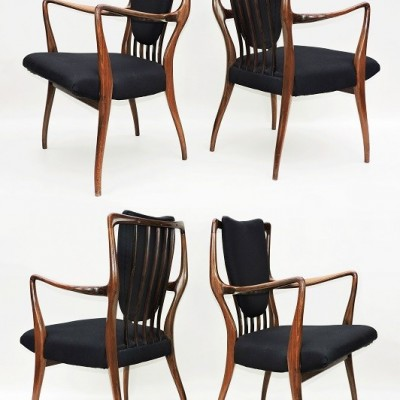 4x Andrew J Milne Rosewood Chairs, C1947 Heal's, A. J. Milne, Andrew John Milne, Manchester