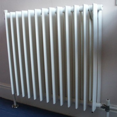 pair of stylish steel radiators