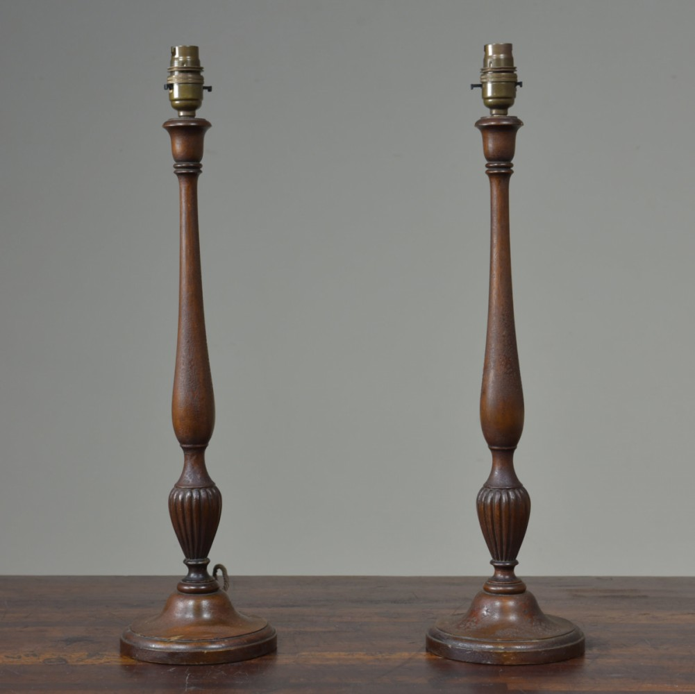 Pair Antique Mahogany Table Lamps