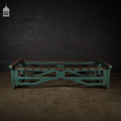 Industrial Cast Iron Machine Base with Distressed Green Paint