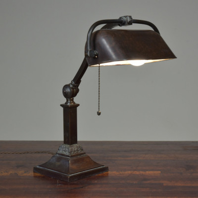 Antique Bronze Bankers Desk Table Lamp