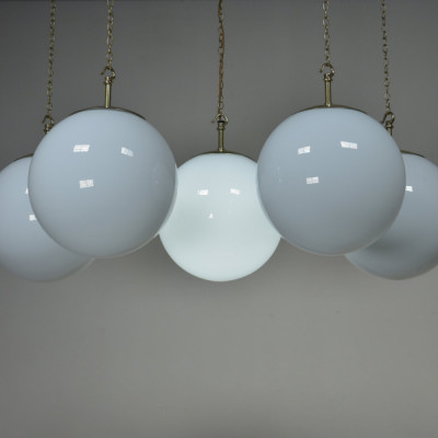 Large Antique Opaline Globe Pendant Lights