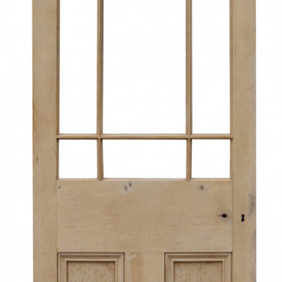 Antique Half Glazed Interior Stripped Pine Door