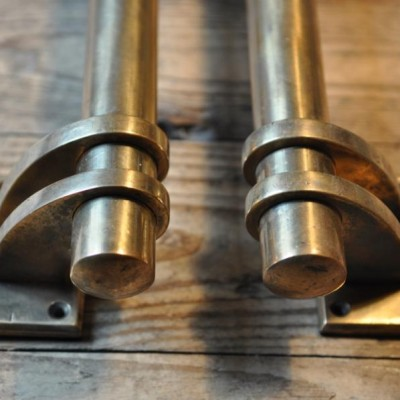 art deco brass door handles three foot long