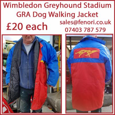 GRA Dog Walking Jackets from Wimbledon Greyhound Stadium