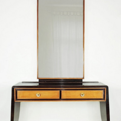 Italian, Rosewood & Sycamore Vanity / dressing table C1940 Art deco cheval