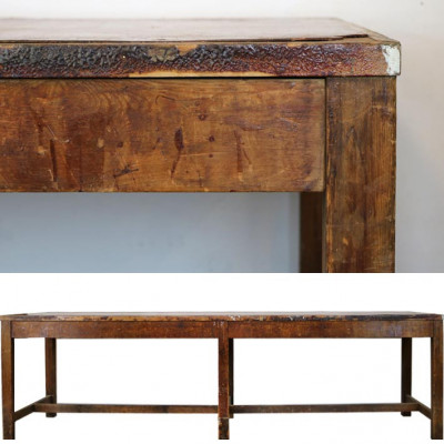 Antique Wooden and Leatherette Table