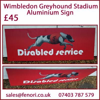 Disabled Dog Aluminium Sign from Wimbledon Greyhound Stadium