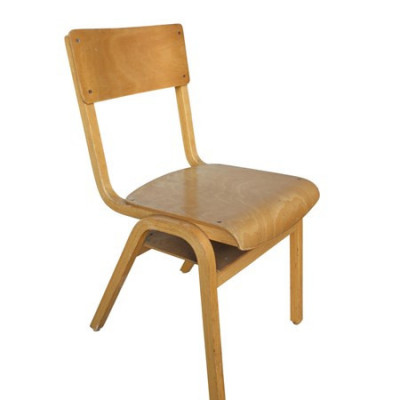 Old Solid Retro Vintage Wooden Stacking Chairs