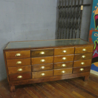 glass haberdashery cabinet/shop counter