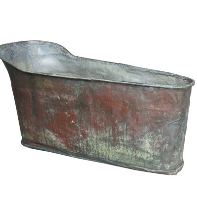 Rare Reclaimed Antique Copper Bateau Bath / Planter